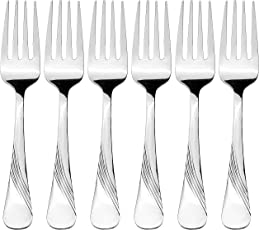 Amazon Brand - Solimo 6 Piece Stainless Steel Fork Set, Waves