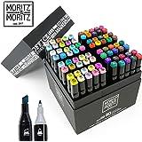 Moritz & Moritz 80er Set Twin Marker Duo-Fasermaler - Weiche & Intensive Farben zum Skizzieren Layouten Illustrieren Zeichnen Malen