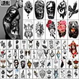 Yazhiji 56 Vellen Tijdelijke Tattoos Stickers 11 Vellen Half Arm Schouder Tatoeages voor Mannen of Vrouwen met 45 Vellen Tiny