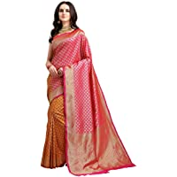 EthnicJunction Women's Kanjeevaram Silk Half and Half Saree with Blouse Piece