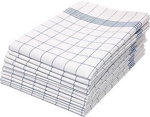 Zollner 10er-Set Geschirrtücher Baumwolle, rot- oder blau- kariert, 005