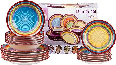 MamboCat 18tlg. Teller-Set Ibiza für 6 Personen | kunterbuntes Tafel-Geschirr | Speiseteller Flach + Suppenteller Tief + Dessertteller | Regenbogen