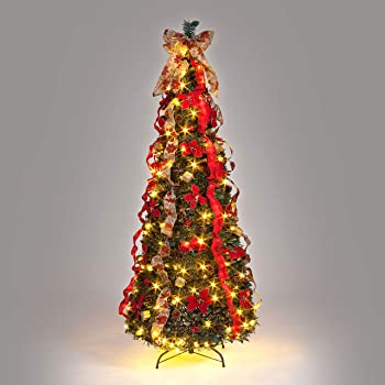 Snowtime Pre-Decorated Pop Up Tree 6ft with 150 LEDs - 180cm Pre Lit Pop Up Decorated Christmas Tree With Warm White Lights