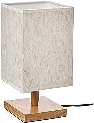 Umi. by Amazon Tischlampe, Lampenschirm aus Stoff mit rechteckigem Holz-Lampenfuß, 28,45 cm