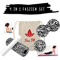 Fas Fit Faszienrolle - 2 bzw. 4-teiliges Foam Roller Set aus 2 Massagerollen (& 2 Faszienbällen) - Faszien Rolle für ein effektives Faszientraining - Inklusive Poster, Übungsheft, E-Book und Aufbewahrungstasche - Rückenrolle