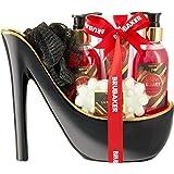 BRUBAKER Luxus Erdbeer und Kokosmilch Beautyset - 5 tlg. Bade Geschenkset in Keramik Stiletto Schwarz Gold