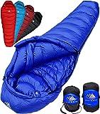 Hyke & Byke Quandary (-10) Grad C Daunenschlafsack für Backpacking, Ultraleicht Entenfeder Schlafsack mit leichtem Kompressions-Sack und Fünf (5) Farboptionen