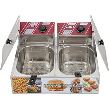 andrew james Double Deep fat Fryer 6+6 Liters Commercial Stainless Steel