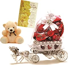 Skylofts Horse Chocolate Gift With A Soft Teddy & Birthday Card - 10 Pcs