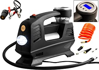 RNG Eko Green - Digital Double Cylinder Car Air Compressor- Black (100% Copper Winding, 12V/220W/160PSI, Triple Fast Inflate 70L/Min, Low Noise 85 db)