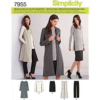 Simplicity 7955.H5 Schnittmuster Longweste & Cardigan (Damen, Gr. 32 ...
