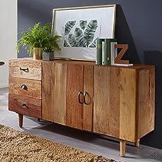 FineBuy Sideboard Nami 138x69x40 Cm Massivholz Vintage Anrichte Landhaus | Design  Kommode Wohnzimmer | Dielenkommode Landhausstil