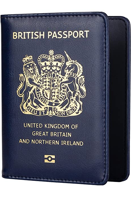 Funda para pasaporte, cartera de viaje con bloqueo RFID, para hombre y mujer, color azul marino: Amazon.es: Equipaje