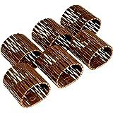 NAMASTI Servilleteros de madera de abedul barnizada para bodas, Navidad, cumpleaños, decoración de mesa (marrón, 6)