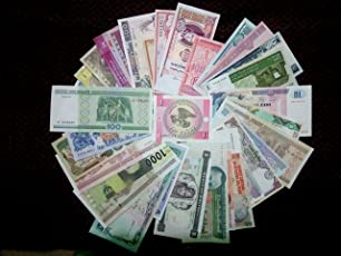 50 All Different Original World Wide Foreign Currency Bank Notes in UNC Condition with a High Quality Album which can Hold 60 Currencies@ arunrajsofia