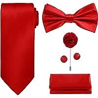 TIE G 5pcs Tie Set in Gift Box : Solid Color Necktie, Satin Bow Tie, Pocket Square, Lapel, Cuff Links