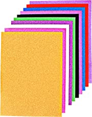 PIGLOO A4 Size Glitter Paper for Art and Craft, 250 Gsm (Multicolour, 4878) - 10 Sheets