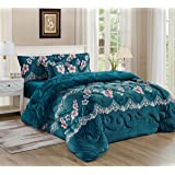 Moon Winter fur Comforter 6 Pieces Set, King Size, Turquoise, LSHY-002