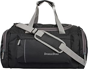 Dussle Dorf Polyester 40 Liters Black and Grey Travel Duffle Bag