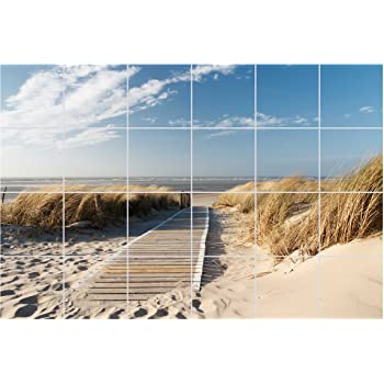 FoLIESEN Fliesenaufkleber Für Bad Und Küche   Fliesenposter Weg Zum Strand    24 TLG.   Fliesengröße 15x15 Cm   Fliesenbild 90x60 Cm (BxH)