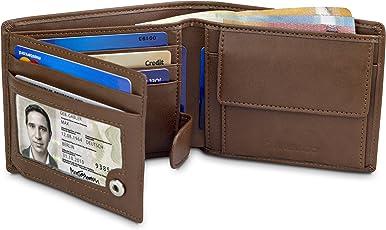 TRAVANDO Geldbeutel Herren Munich - Klassische Geldbörse im Querformat - 8 Kartenfächer - RFID Schutz Männer - mit Geschenk Box - Designed in Germany