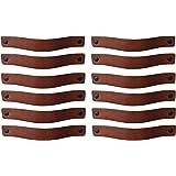 Brute Strength - Leren Handgrepen - Cognac - 12 stuks - 20 x 2,5 cm - incl. 3 kleuren schroeven per leren handvat voor keuken
