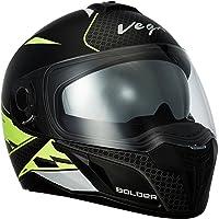 Vega Ryker Bolder Full Face Helmet (Dull Black/Neon Yellow, M)