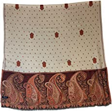 Pashtush Women's Wool Shawl Jaal embroidery with multicolored paisley palla