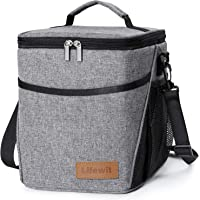Lifewit Large Picnic Cooler Bag Insulated Lunch Bag for Men and Women, with Bottle Holder, Adjustable Shoulder Strap, Insulated Lunch Bag for Office/School/Picnic,Grey