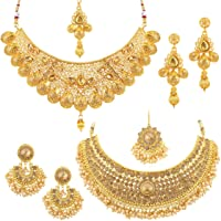 Sukkhi Glamorous LCT Gold Plated Wedding Jewellery Pearl Choker Necklace Set Combo For Women (CB73381)
