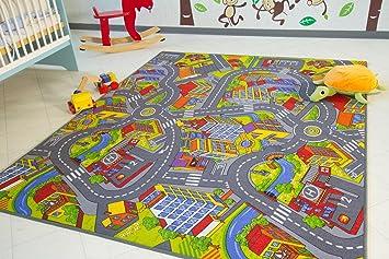 Teppich kinder  Kinder Teppich City - Straßen und Spiel Teppich, 100x160 cm ...
