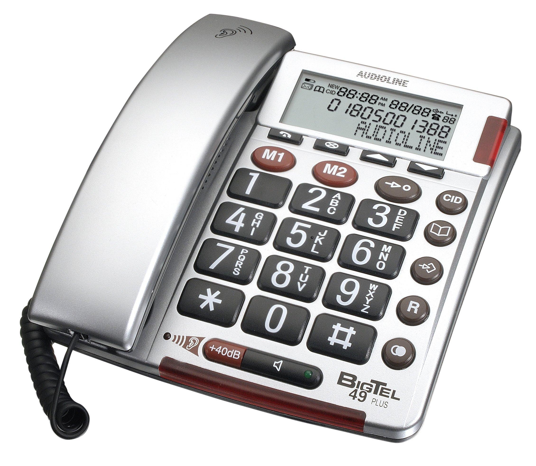 Audioline BigTel 49 Plus telefono con ID chiamante, colore: Argento [Importato dalla Germania]