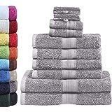 Green Mark Textilien - Set Van 10 Premium Kwaliteit Badhanddoeken, 100% Katoen, Zilver Gris