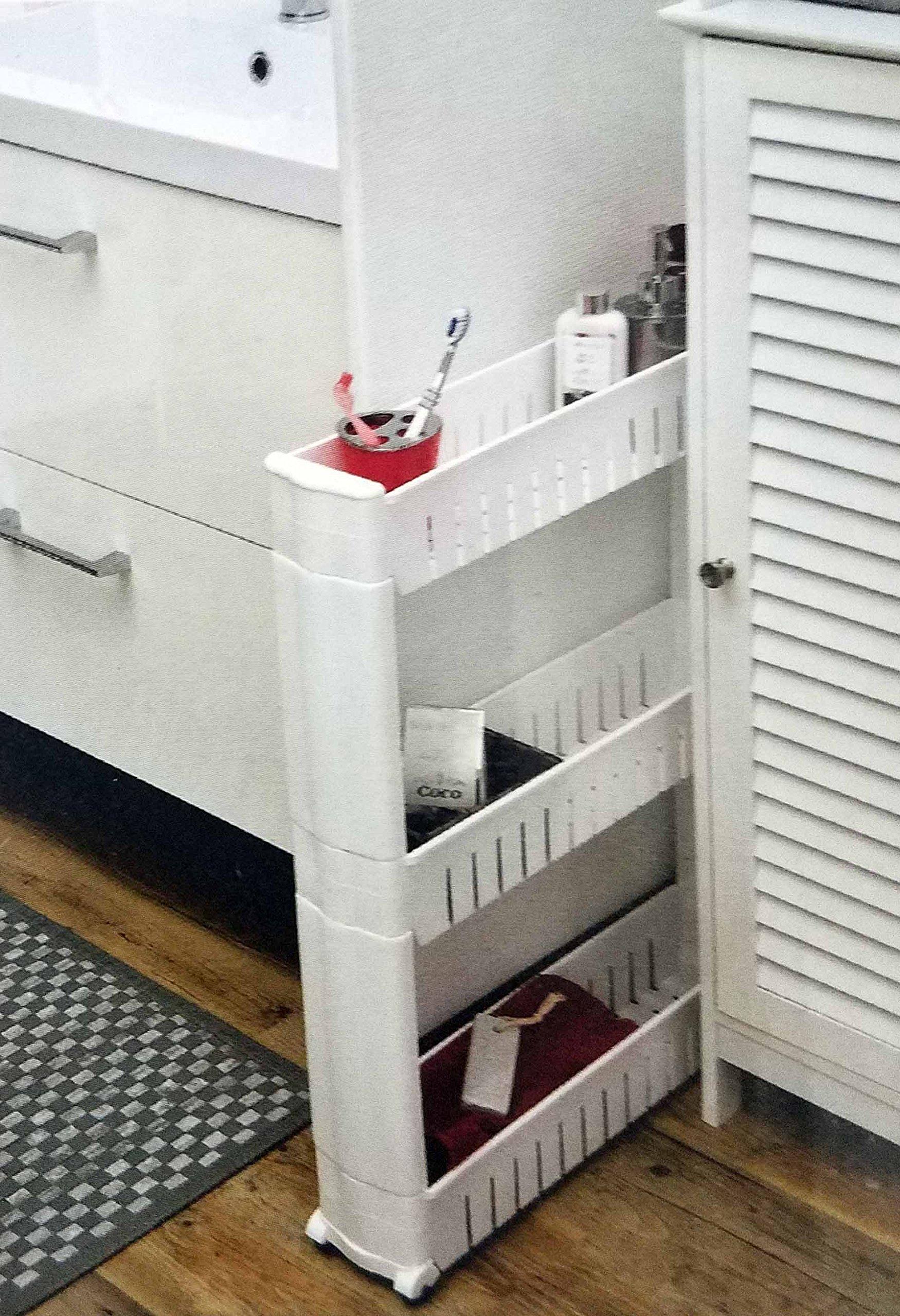 Mueble de almacenamiento con ruedas 3 niveles – PRACTICO y MULTIFUNCION – Color BLANCO