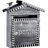 Arregui Rustica D-2202 Individuele brievenbus van metaal in rustieke stijl, maat S (DIN A5), zwart geborsteld, 32,5 x 28,5 x