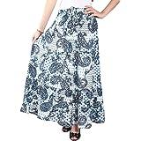 COTTON BREEZE Women's Cotton Long Skirt Blue