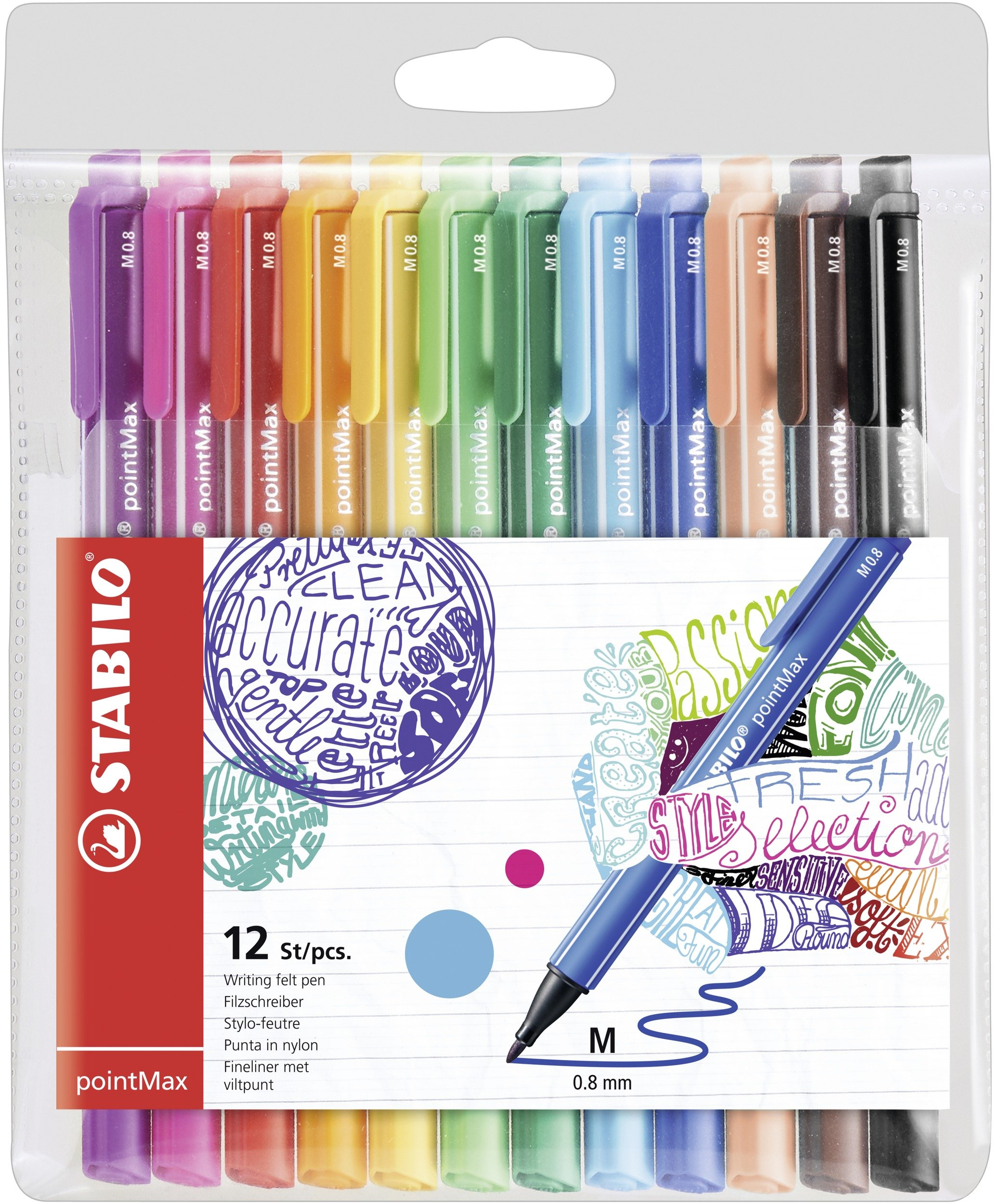 Rotulador punta media Stabilo pointMax – Estuche con 12 colores, multicolor