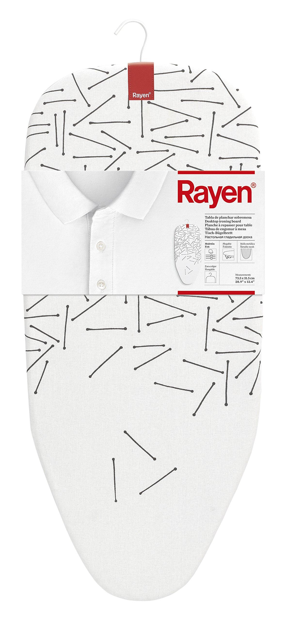 Rayen Tabla de Planchar sobremesa, Metal, Estampado, 1.7x32x73 cm