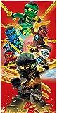 BERONAGE Lego Ninjago Badetuch Motiv Champion Fire 70 cm x 140 cm Ovp - Strandlaken - Strandtuch - Handtuch - Duschtuch - Velourstuch - 100% Baumwolle