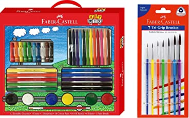 Faber-CAstell Combo of Art Mix and Tri Grip Paint Brushes Set of 7