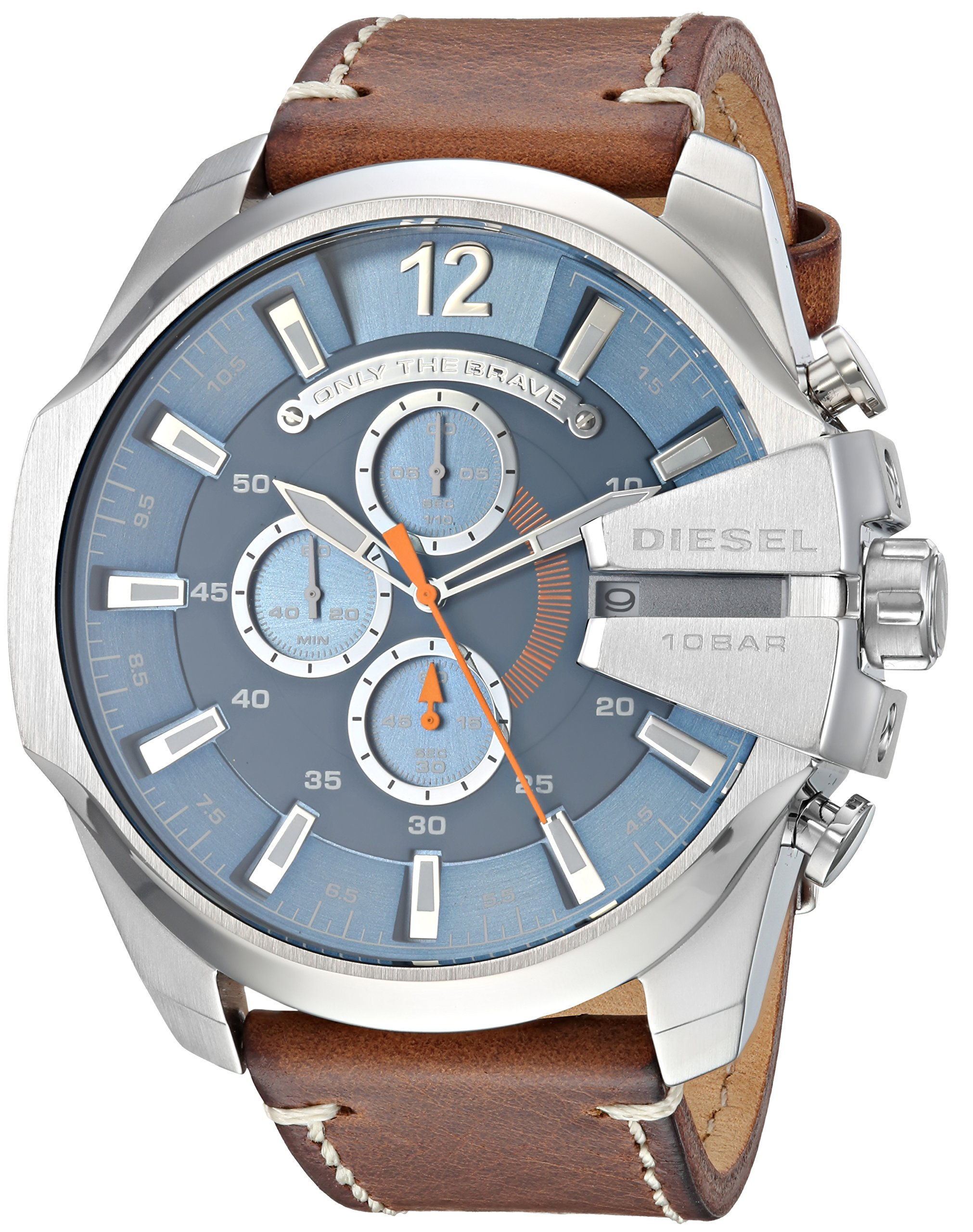 Diesel Relojes Mega Chief acero inoxidable y cronógrafo de piel color marrón reloj