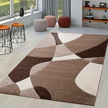 Tappeto moderno per salotto disegno astratto in marrone beige ...