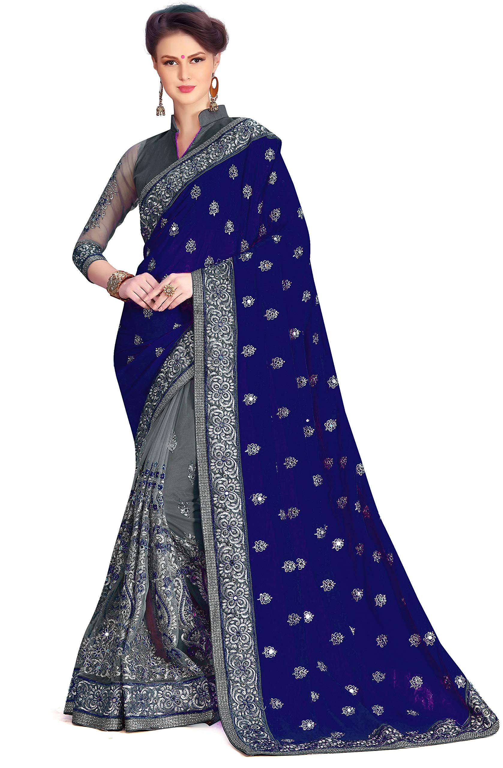 Women's Heavy Embroidery Work Satin & Net Sarees