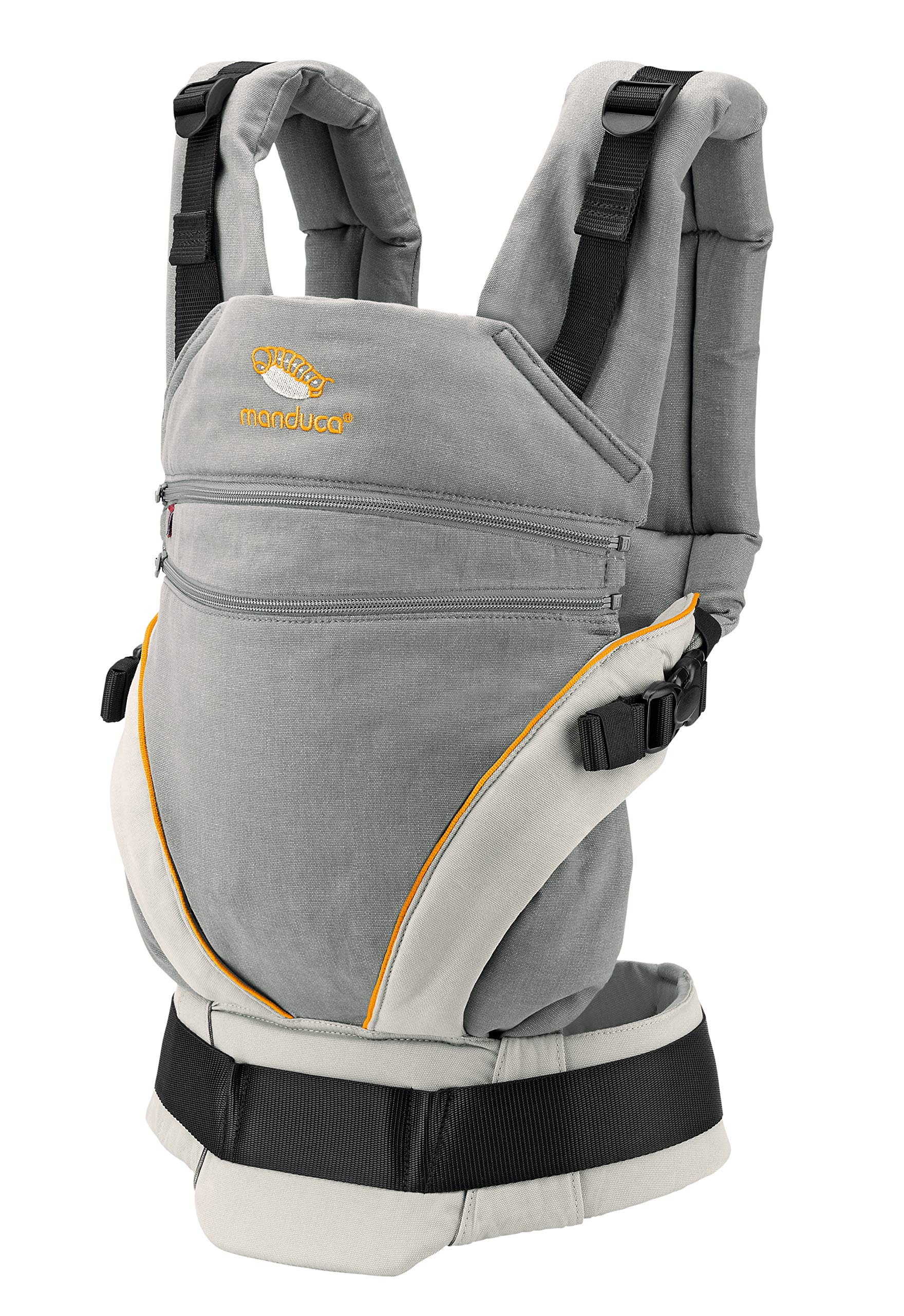 manduca XT > grey- orange < Baby Carrier with Adjustable Seat, 3 Carrying Positions (Front, Hip & Back), No Infant Insert Needed, Organic Cotton, Grows with your Baby from Birth to Toddler (3.5- 20kg) Manduca This baby carrier adapts from newborn to toddler. Infinitely adjustable seat (16-50cm) without buttons, knots, Velcro or cord system. Novel tension arches support baby's spine & hip Three height options thanks to the patented back extension & integrated zip-in. Multifunctional headrest (classic hood or rolled up as neck support). No accessories needed. One Size 3 carry positions: front, hip and back carrier. Not intended for face-out position. Supports the squat-spread position (M-Position) 9