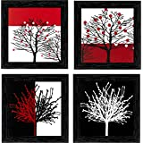 Indianara Framed Wall Hanging Paintings without glass 18x18x1-cm(Brown) - Set of 4