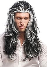 Wig me up - 29938B-ZA103-ZA60 Perücke Herren Damen Karneval Halloween Lange Mähne Schwarz-Weiß-Mix Grau Gesträhnt Dunkler Vampir Fürst Dracula 55 cm