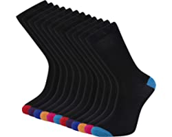 Cob Stallion- Black Socks for Men in Argyle, Heel and Toe Styles, Men's Socks Multipack 6-11 UK, Pack of 6 and 12 Pairs