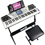 RockJam 61 Key Keyboard Piano Kit with Digital Piano Bench, Electric Piano Stand, Headphones Piano Note Stickers…