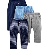 Simple Joys by Carter's pantalón para bebé, paquete de 4 ,Navy/Stripes/Gray ,Bebé prematuro