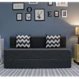 uberlyfe Sofa Cum Bed - 3 Seater, 5' X 6' Feet - with 2 Cushions (Zigzag Pattern) - Jute Fabric   Dark Grey - Perfect for Gue